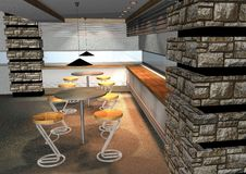 Free 3D Render Of Modern Restaurant Interior Stock Image - 6033301