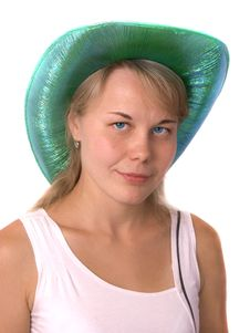 Free The Beautiful Girl In A Cowboy S Hat. Isolated Stock Image - 6033631