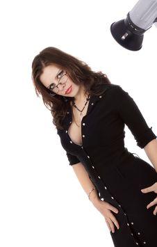 Free Beautiful Brunette In A Black Dress Stock Photos - 6033853