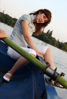 Free Girl Posing On A Boat Royalty Free Stock Photos - 6034278