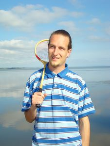 Free Young Adult Man With A Racket . Stock Images - 6035024