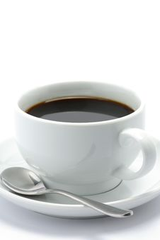 Hot Cup Of Black Coffee With A Spoon