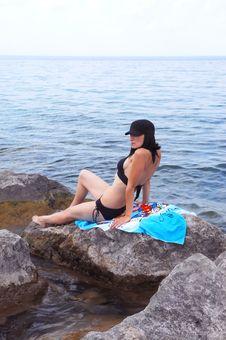 Free Bikini Model On The Beach. Royalty Free Stock Image - 6036416