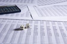 Calculator And Dice Stock Photos