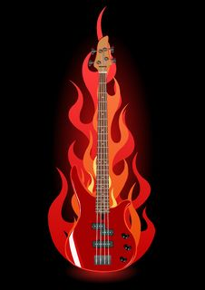 Free Vector Illustration Of Bass Guitar In Flames Stock Photo - 6038130