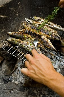 Man Making Grilled Fishes Royalty Free Stock Images