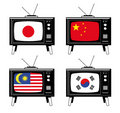 Free Set Of Tv With Asian Flags Stock Images - 6045644