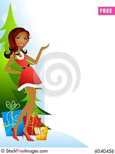 Free Female Santa Xmas Helper Royalty Free Stock Image - 6040456