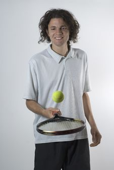 Free Man Balances A Tennis Ball - Vertical Royalty Free Stock Photos - 6040388
