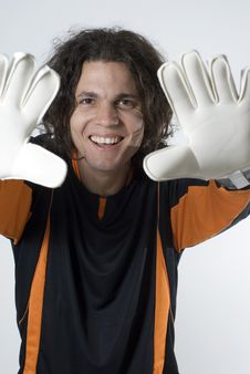 Free Soccer Goalie With Gloves - Vertical Royalty Free Stock Photo - 6040415