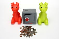 Free Piggy Banks And Combination Safe Stock Photos - 6040543