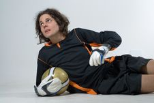 Free Man Laying Posing With Soccerball - Horizontal Stock Photos - 6040793