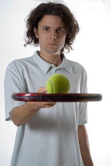 Man With Tennis Racket And Ball - Vertical Stock Images