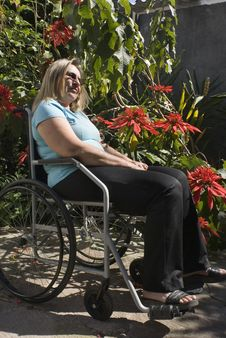 Free Woman Reclines In Wheelchair - Vertical Royalty Free Stock Photos - 6041078