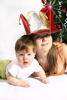 Free Brother And Sister At Christmas Stock Photography - 6041292