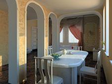 Luxury Dinner Room Stock Photo
