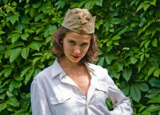 Girl Wearing A Soviet Soldier Cap Royalty Free Stock Photography