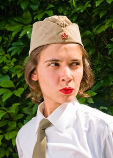 Girl Wearing A Soviet Soldier Cap Stock Photo