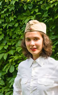 Girl Wearing A Soviet Soldier Cap Stock Photography
