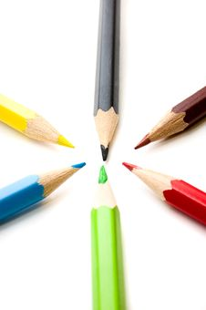 Free Colorful Pencils Royalty Free Stock Images - 6044769