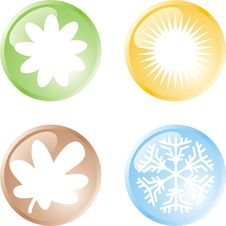 Free Four Seasons Buttons Stock Photography - 6044832