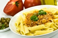 Free Spaghetti Bolognese With Parmesan Cheese And Olive Royalty Free Stock Photos - 6046878