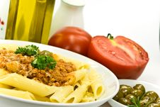 Free Spaghetti Bolognese With Parmesan Cheese And Olive Royalty Free Stock Image - 6046886