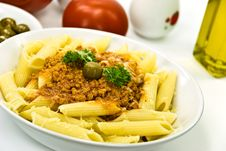 Free Spaghetti Bolognese With Parmesan Cheese And Olive Stock Photo - 6046890
