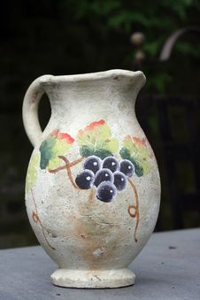 Old Hand Painted Wine Jug Stock Image