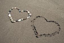Love In The Sandy Beach Stock Image