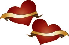 Two Red Hearts With Golden Ribbons Royalty Free Stock Photography