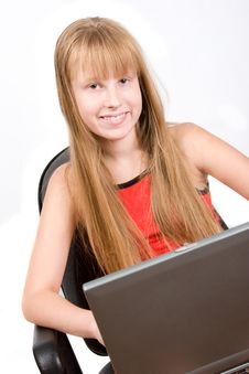 Free Pretty Teenage� Girl With Laptop Isolated On White Royalty Free Stock Photography - 6048897