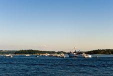 Seafair Log Boom On Lake Washington Royalty Free Stock Photography