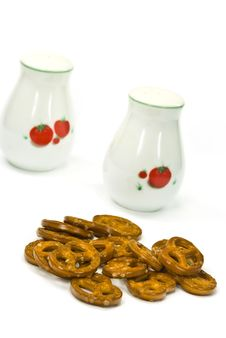 Free Many Little Pretzels On The White Background Stock Photography - 6049762