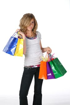 Free Girl With Shopping Bags Royalty Free Stock Photo - 6049815