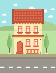 Free Colorful Flat House Royalty Free Stock Photography - 60447747