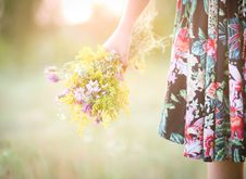 Free Girl With A Bouquet Of Flowers Stock Photo - 60452670