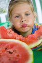 Free Girl And Watermelon Royalty Free Stock Photography - 6054177