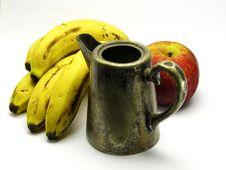 Banana, Apple And Coffee Jar Royalty Free Stock Photo