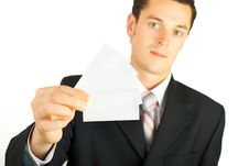 Free Young Businessman Holding Blank Card Royalty Free Stock Images - 6050929