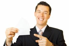 Free Young Businessman Holding Blank Card Stock Images - 6050964