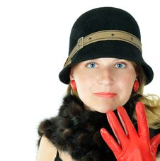 Free Cheerful Young Woman In Brown Hat Stock Photos - 6051383