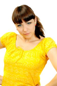 Free Attractive Young Posing Girl In Yellow Dress Royalty Free Stock Photo - 6051705