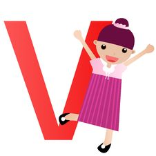 Alphabet Letter V(girl) Royalty Free Stock Image