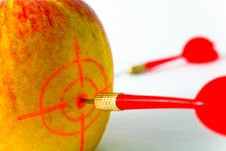 Free Red-yellow Apple With Darts Close-up Royalty Free Stock Photo - 6053695