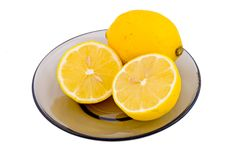 Free Lemons On Saucer Isolated On White Stock Photos - 6053853