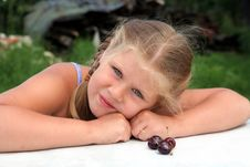 Girl With Cherry Stock Photo