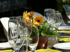 Wine Glasses On Summer Table Stock Photos