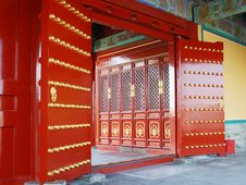 Red Door In Chinese Temple Stock Photo