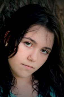 Free Brunette Girl Sad Black Hair Stock Photos - 6055763